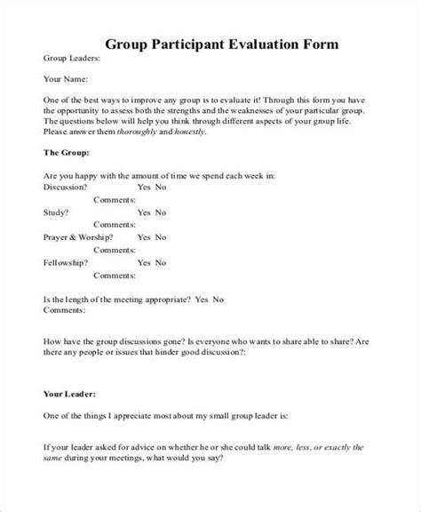 participant evaluation form templates evaluation form exles