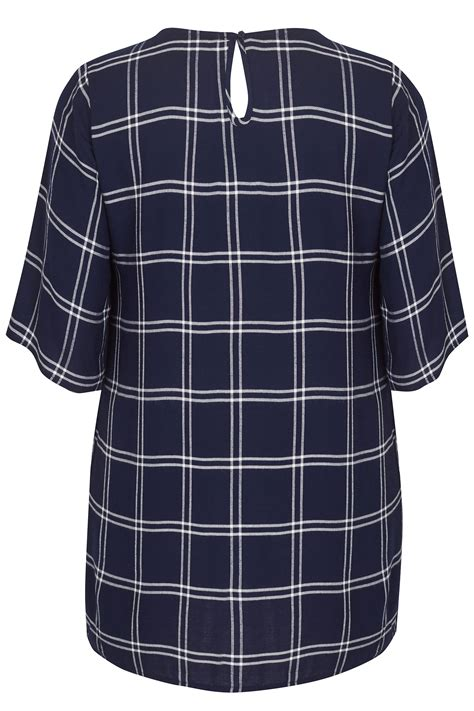 best color safe shoo navy ecru check tunic with embroidery plus size 16 to 36