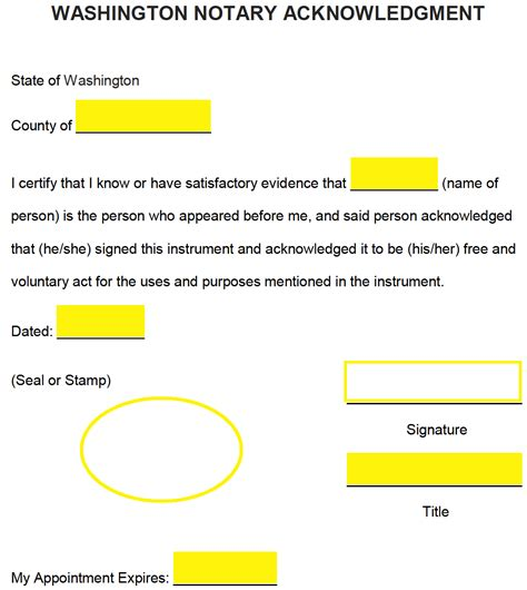 Free Washington Notary Acknowledgment Form Word Pdf Eforms Free Fillable Forms Notary Template Washington State