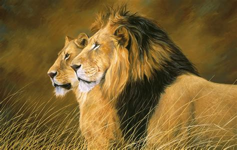 Lion Curtains Side By Side Painting By Lucie Bilodeau