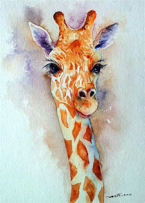 Giraffe Watercolor Original Animal Painting 9x12
