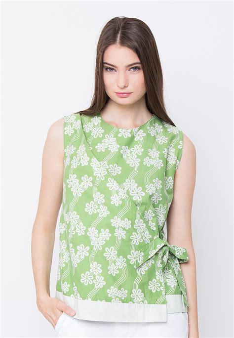 Blus Batik Kombinasi blus batik kombinasi modern wanita murah mataharimall