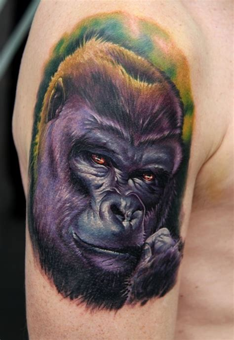 tattoo nightmares gorilla nice realistic colorful gorilla muzzle tattoo on upper arm