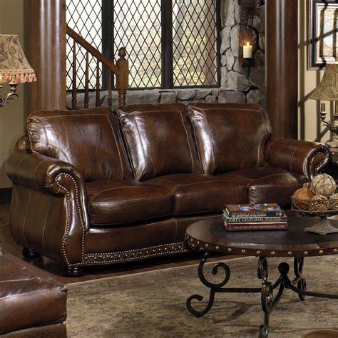 usa premium leather  stationary sofa  nailhead trimming dream home furniture sofa