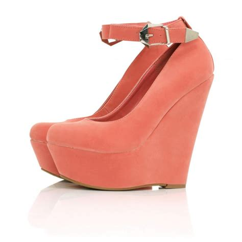 buy majestyk wedge heel platform shoes coral suede style