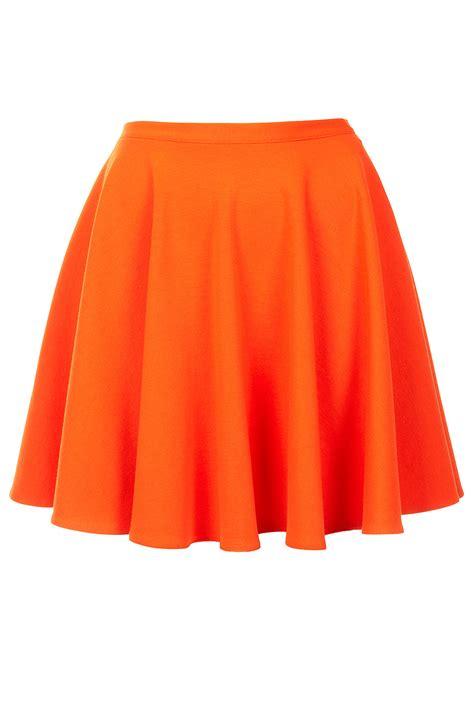 topshop orange skater skirt in orange lyst