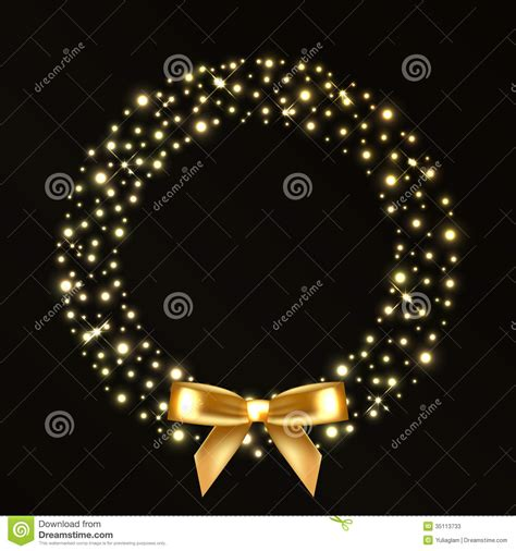 christmas wreath from gold lights stock photos image