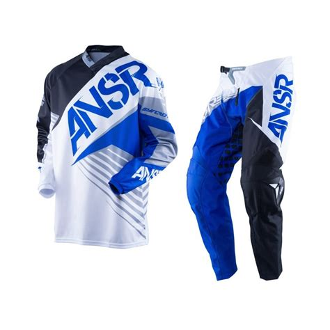 white motocross gear answer syncron white black blue motocross pants jersey