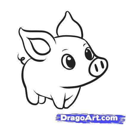 How To Draw A Simple Pig Step By Step Farm Animals Animals Free Online Drawing Tutorial Easy Animals To Draw