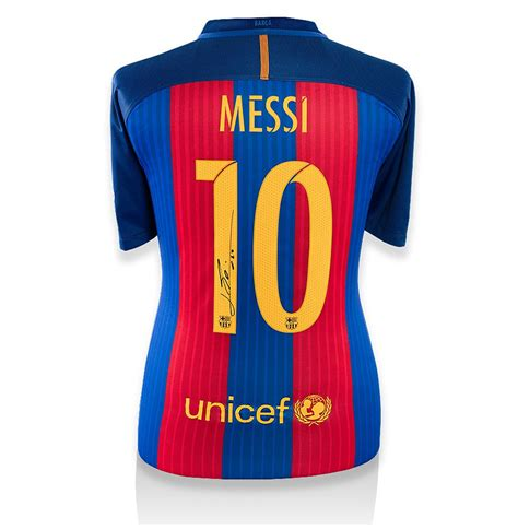 Barcelona Signature 1 T Shirt lionel messi signed barcelona shirt 2016 2017 gift box