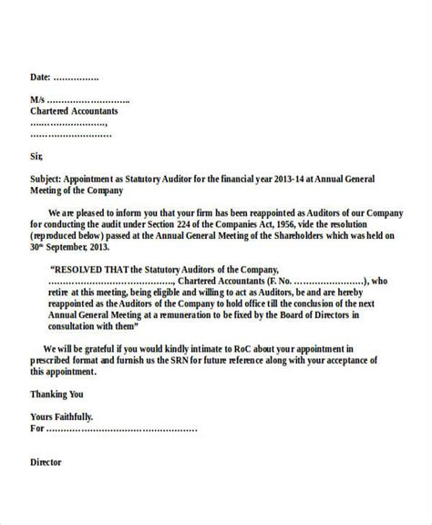 appointment letter format for tax auditor auditor appointment letter templates 6 free word pdf
