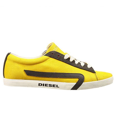 yellow sneakers mens lyst diesel shoes bikkren sneaker canvas in yellow for
