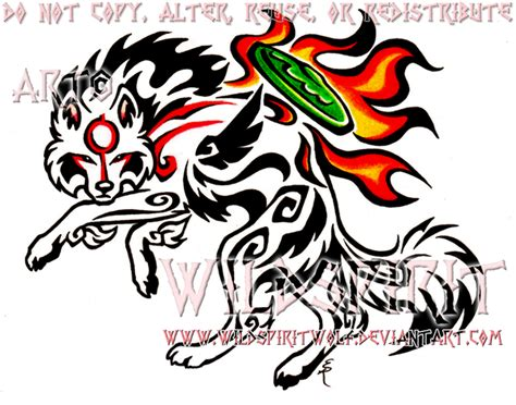 color tribal okami tattoo by wildspiritwolf on deviantart