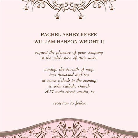template for invite 6 wedding invitation templates excel pdf formats