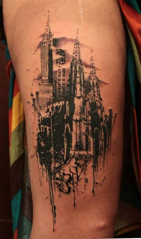 nyc tattoo artist watercolor city skyline gene coeffey tattoos pinterest cities