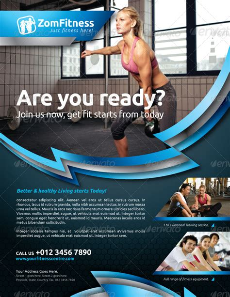 Fitness Flyer Vol 6 By Kitcreativestudio Graphicriver Fitness Flyer Template
