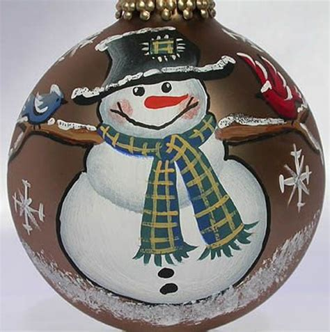 custom painted snowman with birds ornament