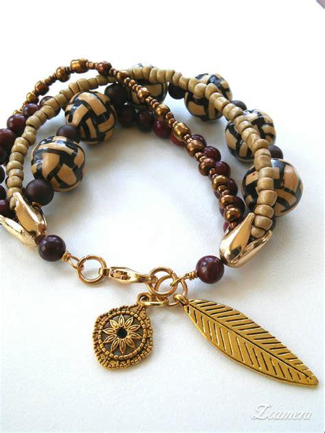 brown beaded bracelet brown bead bracelet seed bead bracelet boho bracelet strand