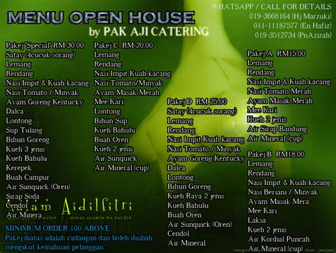 open house menu pak aji catering canopy menu open house untuk sambutan