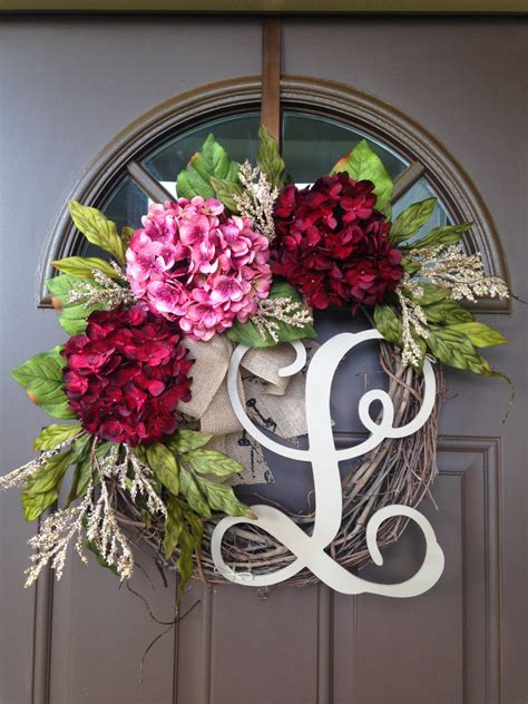 wreath grapevine initial wreath front door decor by flowenka