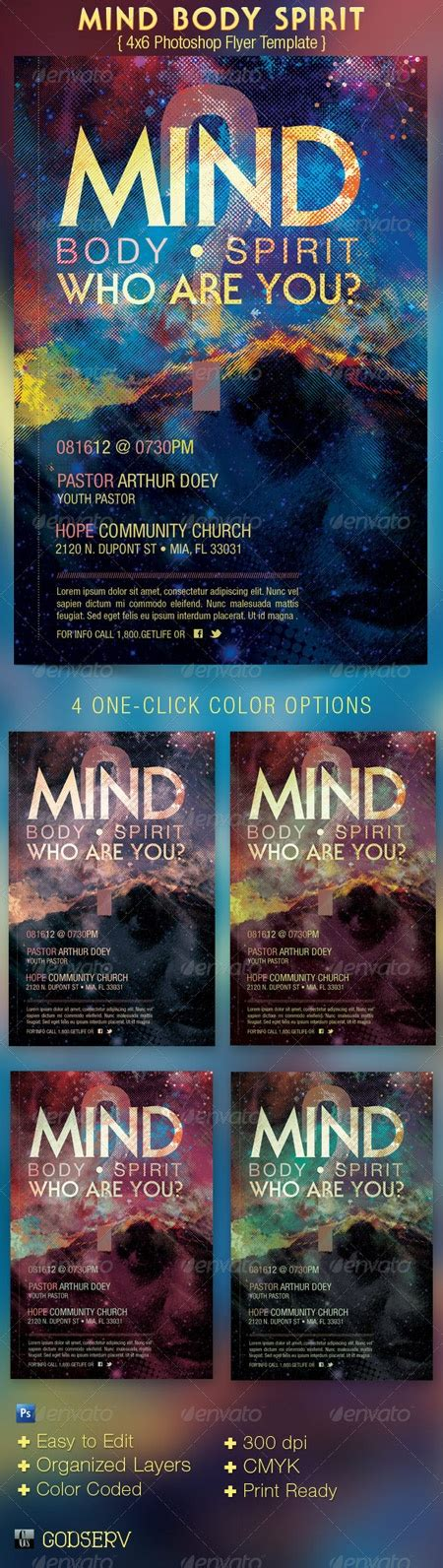 graphicriver mind body spirit church flyer template psd