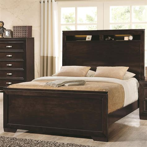 queen storage headboard with lights coaster home 203711q solano queen bed with lighted