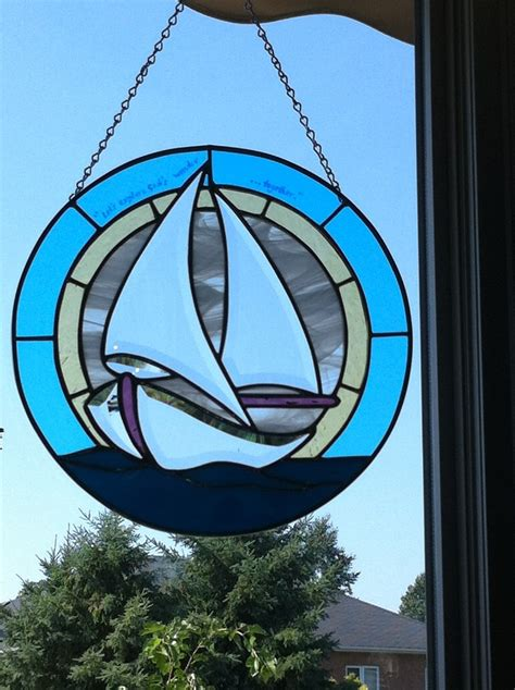 sailboat round up round stained glass sailboat panel stained glass pinterest