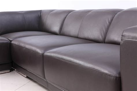 Divani Leather Sofa Divani Casa Adagio Modern Brown Leather Sectional Sofa