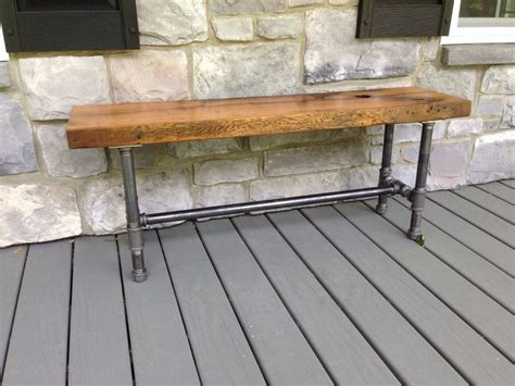 pipe bench legs oak bench old barn doors and metal pipe on pinterest