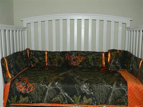 Camouflage Crib Bedding Sets Boys Camo Mossy Oak And Orange Minky Dot Baby Crib Bedding Set With And Free Monograms 199 00 Via