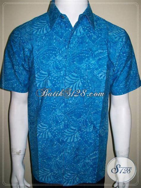 Kain Batik Cap Medan Biru baju batik modern remaja pria terbaru ukuran xl baju