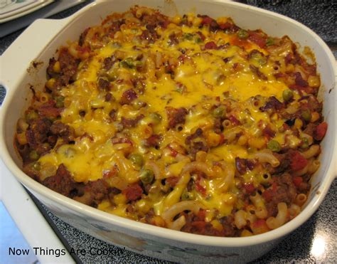 recipetips now hamburger casserole now things are cookin the best of things hamburger macaroni casserole recipe