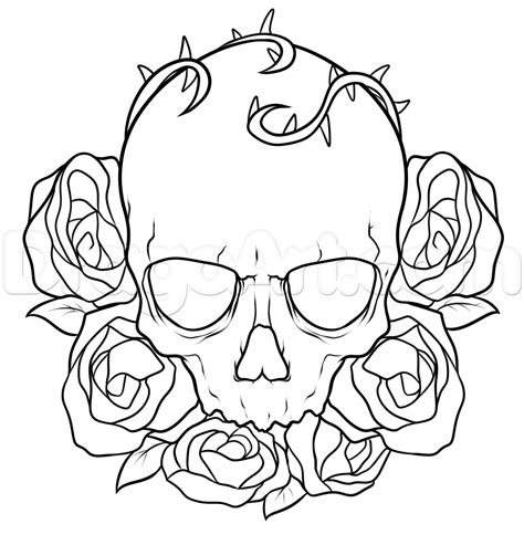 dragoart tattoo how to draw a skull and roses step by step