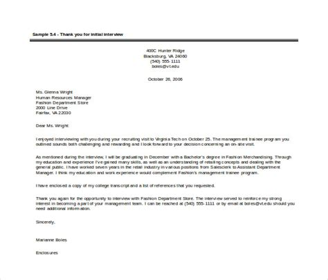 thank you letter after human resources position sle thank you letter after human resources