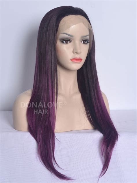 waist length ombre black ombre purple waist length straight synthetic lace