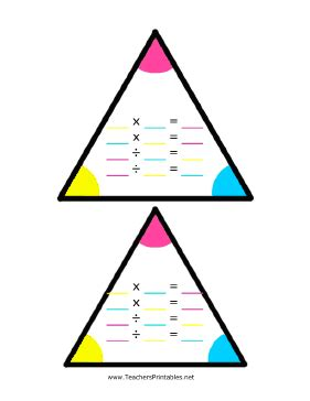 triangle multiplication flash card template math fact family triangles worksheets fact family