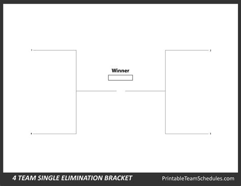 printable 4 name baby girl tournament bracket printable 4 team bracket single elimination tournament