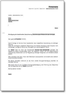 Musterbrief Für Kündigung Einer Versicherung k 252 ndigung einer versicherung wegen misstrauen de musterbrief