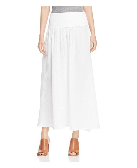 three dots cotton gauze maxi skirt in white save 25 lyst
