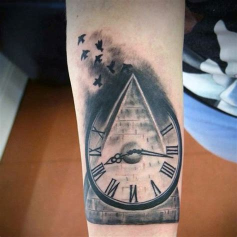 pyramid clock tattoo 40 pyramid designs for ink ideas with a