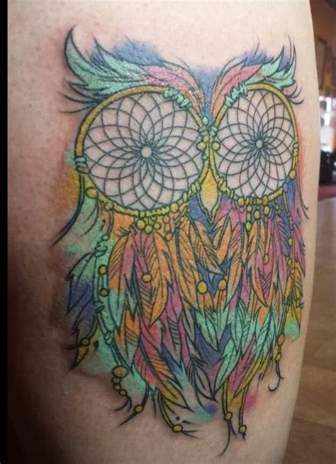 tattoo care color owl dream catcher rainbow color tattoo i don t care for