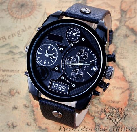 cool mens sport watches date black oversize leather band