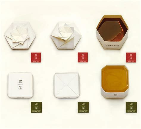 Origami Tea Bags - inspiration a tea bag package folds into an origami cup