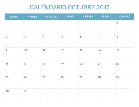 Calendario 2017 Editable Calendario Octubre 2017 Editable