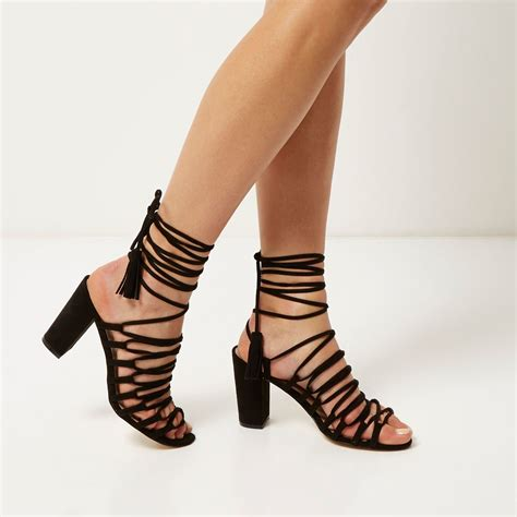Lace Up lyst river island black lace up block heel sandals in black