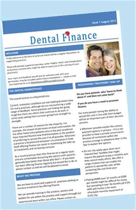 Finance Newsletter Dental Finance Finance For Patients At Point Of Treatment
