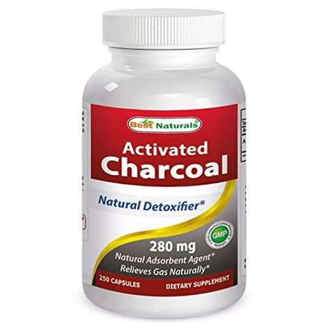 Activated Charcoal Tablets Detox by Activated Charcoal 280 Mg 250 Capsules High Adsorbency