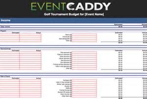 Golf Tournament Budget Template Golf Tournament Templates And Forms Event Caddy