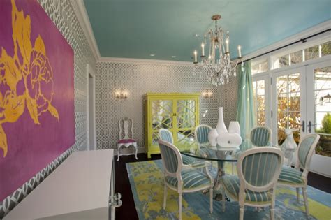 turquoise paint color eclectic dining room sherwin williams spa jacobson interior design