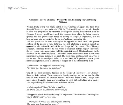 Chimney Sweep Essay by Compare And Contrast Essay On The Chimney Sweeper